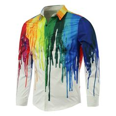 Wholesale Colorful Paint Dripping Print Covered Button Front Long Sleeve Shirt (WHITE,2XL), Shirts - Rosewholesale.com