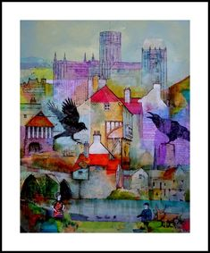 Story of John Duck by Malcolm Coils - Mixed media on canvas board The story of Durhams Dick Whittington finding a golden coin dropped by a raven and m. Artist Profile, Naive Art, Collage Art, Collages, Mixed Media Canvas, Art Google, Landscape Paintings, Watercolor Art, Art Projects