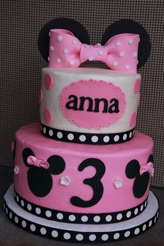 BIRTHDAY GIRL 2 | Minnie Mouse birthday cake for a 3-year-old girl. Top tier vanilla ...
