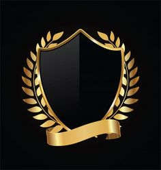 Escudo de ouro e preto com louros de our. Purple Gold, Black Gold, Gold And Black Background, Shield Vector, Or Noir, Game Logo Design, Shield Design, Luxury Logo, Modern Logo