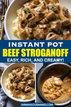 Learn how to make easy Instant Pot Beef Stroganoff from scratch using no canned soup! Tender stroganoff in the pressure cooker is a creamy, comforting meal that includes simple adaptations for gluten free beef stroganoff. #instantpotbeefstroganoff #pressurecooker #stewmeat #hamburger #groundbeef #easy #glutenfree