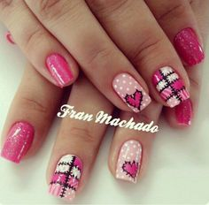 Learn how to create Valentines Day Nail Art Designs & Ideas for 2020 Love Nails, Pink Nails, Pretty Nails, Valentine Nail Art, Valentine Heart, Heart Nails, Holiday Nails, Nails Inspiration, Hair And Nails