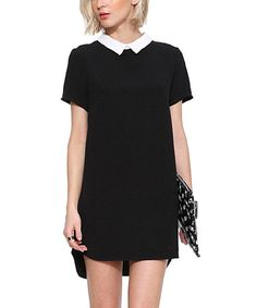 Look what I found on #zulily! Black Contrast-Collar Hi-Low Dress #zulilyfinds
