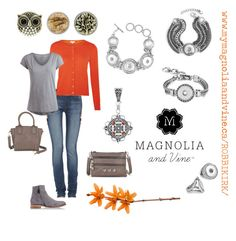"""Magnolia and Vine snap jewellery and accessories complete ANY outfit. SHOP at www.mymagnoliaandvine.ca/ROBBIKIRK/ and contact Roberta Kirk at www.facebook.com/mymagnoliaandvinerobbikirk """"Magnolia and Vine Casual Orange and Grey By Roberta Kirk"""" by magnoliaandvine on Polyvore"""