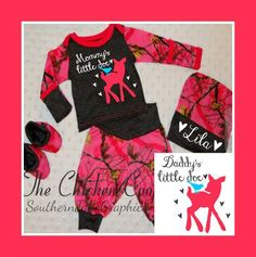 Baby Girl Coming Home Outfit Set - Hot Pink RealTree Camo - Mommy's - Daddy's - Grandma's - Grandpa's Little Doe W/ Hearts Bird And Fawn by SouthernJaneGraphics on Etsy