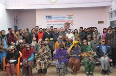 Patients whose eyes were operated upon at the eye camp organized by Dulhasti Power Station.
