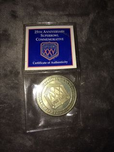 1991 NFL Football Super Bowl XXV Silver Anniversary Coin with Certificate W Bonu