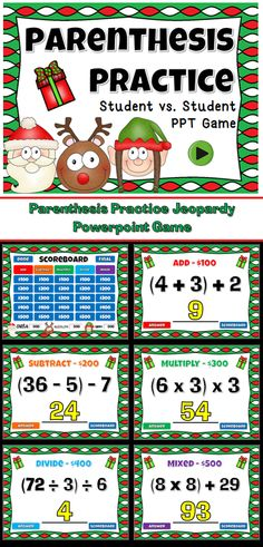 Have fun with your students with the engaging Christmas Themed Jeopardy game. In 3 teams, students compete against one another while practicing using parenthesizes in equations. There are 5 categories, one for each operation (MDAS) and a mixed operation. Also includes a final Jeopardy question.