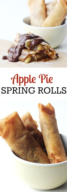 Crispy dessert spring rolls with sweet, apple pie filling. Topped with chocolate sauce and powdered sugar. Great Asian fusion recipe!