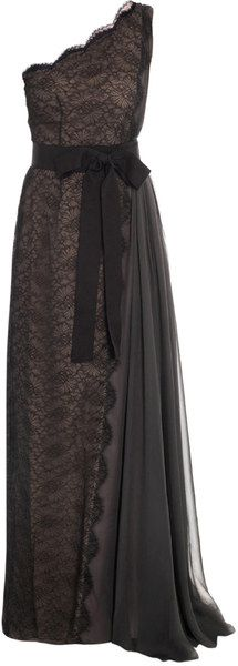 lanvin Chantilly Lace One Shouldered Gown - Lyst