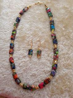 Luau  necklace & earring set Mixed Jasper 24k by ScarletMareStudio, $55.00