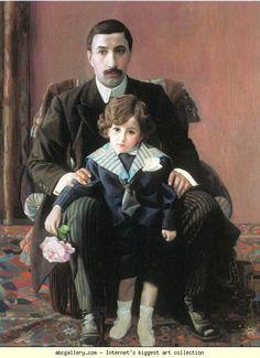 Pavel Filonov – Portrait of Arman Franzevich Aziber with His Son, 1915, Oil on canvas, 115x83 cm   The Russian Museum, St. Petersburg