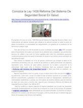 Conozca La Ley 1438 Reforma Del Sistema de Seguridad Social en Salud