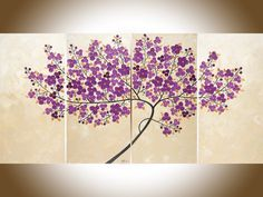 Original oil painting Purple art copper art white by QiQiGallery