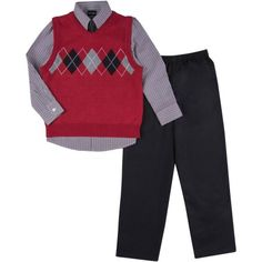George Boys Argyle Sweater Set, Size: 4, Red