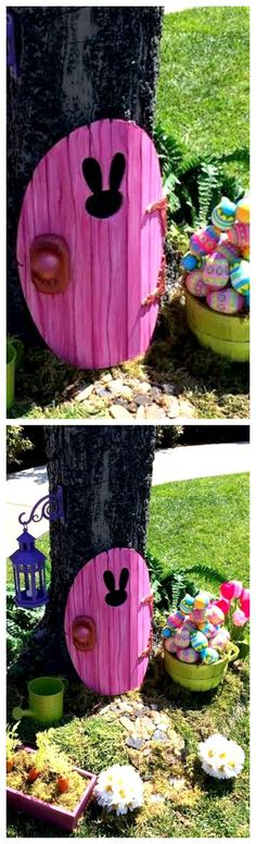 DIY Easter Bunny Garden Door ~ An adorable Easter Bunny door to welcome him when he delivers Easter baskets to your kids... If you do not have a tree to attach the door, you can always set up your Easter Bunny Home to an outer wall of your house, or against a fence. Video tutorial