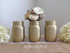 Gold Glitter Mason Jar Set, Wedding Centerpiece, Bridal Shower, Baby Shower, Holiday Decor, Mason Jar Decor, 50th Wedding Anniversary