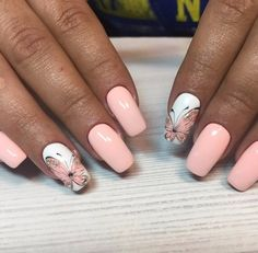 20 Fall Nail Art Design to Beautify Your Style – Nail Art Designs Butterfly Nail Designs, Butterfly Nail Art, Fall Nail Art Designs, Cool Nail Designs, Manicure Nail Designs, Nail Manicure, Polygel Nails, Pink Nails, Fall Nails