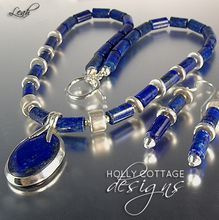 Lapis lazuli and silver necklace and earring set by Holly Cottage Designs. On sale! $72