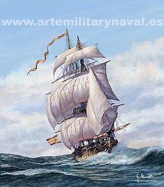 Pintura Militar y Naval: Fragata española del XVIII