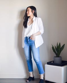 Photo by Sharon ♡ Life + Style Inspo on April white blazer White Blazer Outfits, April 22, Fashion Over 40, Stylish Outfits, Spring Outfits, Trousers, Photo And Video, Clothes For Women, Chic