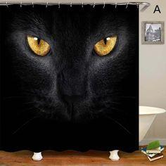 Magic Cat Pumpkin Rideau de douche Set Tissu Imperméable Halloween salle de bains Crochets