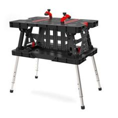 Keter, 21.65 in. x 33.46 in. 33.7 in. Folding Work Table with Adjustable Legs, 217679 at The Home Depot - Tablet-$119.00