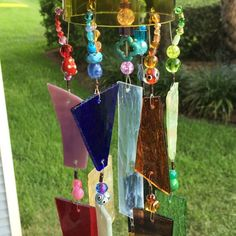 Wind Chime Stained Glass Sun Catcher Upcycled Wine Bottle Top.  Rustic Garden Art!