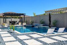 Geometric Swimming Pool Designs — Presidential Pools, Spas & Patio of Arizona Backyard Pool Landscaping, Backyard Pool Designs, Small Backyard Pools, Swimming Pools Backyard, Swimming Pool Designs, Backyard Ideas, Pool Pavers, Modern Landscaping, Outdoor Pool