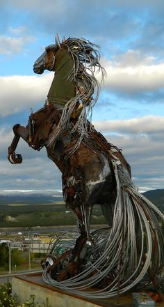 Horse Sculpture Art - In Whitehorse, Yukon Canada - by artist Daphne Mennell and welder Roger Poole