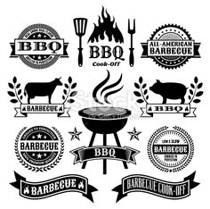BBQ Flames Clip Art   Barbecue logo features a cow skull ...