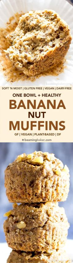 One Bowl Gluten Free Vegan Banana Nut Muffins (V, GF): an easy, whole recipe for deliciously soft and moist banana nut muffins. #Vegan #GlutenFree #WholeGrain #DairyFree #RefinedSugarFree | BeamingBaker.com