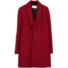 Lapel Collar Double-breasted Long Woolen Coat featuring polyvore, women's fashion, clothing, outerwear, coats, jackets, coats & jackets, chicnova, double breasted long coat, long red coat, long sleeve coat, long lapel coat and slim fit wool coat