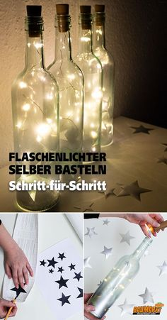 Flaschenlichter selber basteln Fairy lights can not only be attached to the Christmas tree or window Diy Spring Wreath, Diy Wreath, Fairy Lights, Tea Lights, Christmas Aesthetic, Christmas Ad, Bottle Lights, Tea Light Holder, Pattern Making