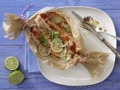 Fisch-Limetten-Päckchen - smarter - mit Koriander. Kalorien: 340 Kcal | Zeit: 30 min. #fish