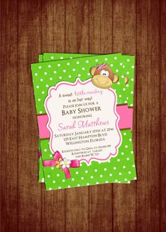 Monkey Baby Shower Invitation  Hot Pink and Lime by 3PeasPrints, $20.00