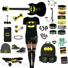 Just the backpack, shirt, shoes, batman bracelets, guitar, ring, bow, necklace