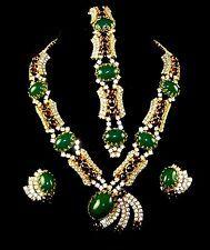 HATTIE CARNEGIE Moghul-style Emerald & Ruby Diamante Necklace Bracelet Earrings