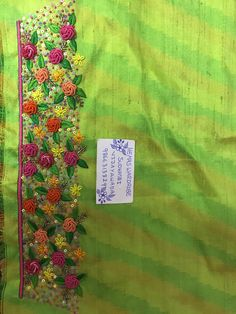 Discover thousands of images about Sudhasri hemaswardrobe Hand Work Embroidery, Embroidery Saree, Hand Embroidery Designs, Beaded Embroidery, Silk Saree Blouse Designs, Blouse Neck Designs, Sleeve Designs, Hand Work Blouse, Maggam Work Designs