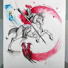 Saint George & the dragon watercolor tattoo design Leg Tattoos, Arm Tattoo, Sleeve Tattoos, Tatoos, Tattoo Art, Aquarell Tattoos, Kunst Tattoos, Watercolor Sketch, Watercolor Tattoo