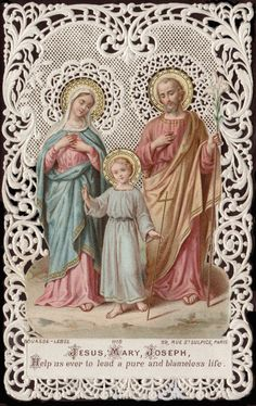 Jesus, Mary, Joseph,Help us ever to lead a pure and blameless life. GRANT us, O LORD JESUS, faithfully to imitatethe examples of thy Holy Family, so that in thehour of our death, in the company of thy gloriousVirgin Mother and St Joseph, we may deserve to bereceived by Thee into eternal tabernacles.
