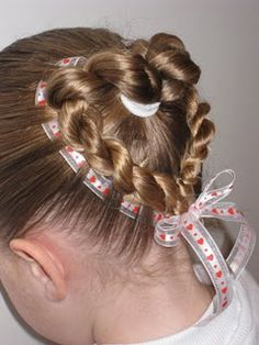 valentines hair. Not sure my girls have enough to pull this off