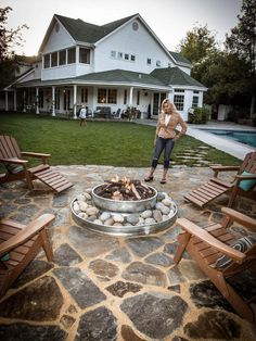 Just wanted to share a fire-pit I made from 2 galvanized farm stock tanks. Solvang, California Just wanted to share a fire-pit I made from 2 galvanized farm stock tanks. Fire Pit Area, Diy Fire Pit, Fire Pit Backyard, Deck With Fire Pit, Backyard Fire Pits, In Ground Fire Pit, Big Backyard, Fire Pit On Pavers, Rock Fire Pits