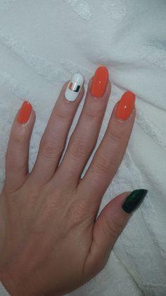 Miami Hurricanes nail art! Hurricanes Football, Miami Hurricanes, Shellac Nails, Nail Polish, University Of Miami, Fancy Nails, How To Do Nails, Nail Colors, Joseph