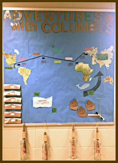 Literary Showcase: Adventures with Columbus Bulletin Board! 4 Year Old Activities, History Activities, Fun Activities, First Grade Projects, School Projects, Class Displays, Classroom Displays, Social Studies Classroom, Teaching Social Studies