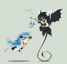 Bleach: Grimmjow Jeagerjaques and Ulquiorra Schiffer Anime Chibi, Anime Kawaii, Manga Anime, Bleach Manga, Bleach Fanart, Cute Anime Pics, Anime Love, Anime Guys, Espada Anime
