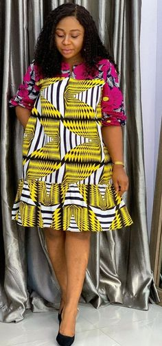 African Print Dress Designs, African Fashion Dresses, Ankara Styles, Designer Dresses, Peplum Dress, How To Wear, Cotton, Clothes, Instagram