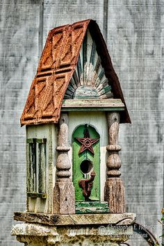 So many whimsical bird houses! The bluebirds are here looking for their summer homes. Wish I had this one for a very arty blue bird. Rustic Birdhouse By Christopher Holmes