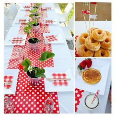 strawberry party with red polka wrapping paper table runner - this is easy to do and inexpensive