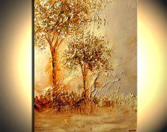 Textura de pesados árboles de floración del paisaje pintura pinturas acrílicas tonos dorados por Osnat - confeccionar - 30